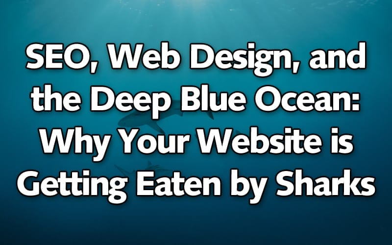 SEO text ocean with sharks